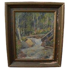 BENT FRANKLIN LARSEN (1882-1970) Utah art rare 1928 impressionist painting of Timpanogos Creek
