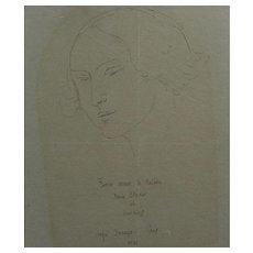 ANGEL ZARRAGA (1886-1946) beautiful 1921 modernist portrait line drawing of a woman by noted Mexican artist