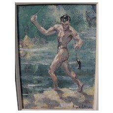 FRANZ JOSEF BOLINGER (1903-1986) Florida art painting of a man and fish