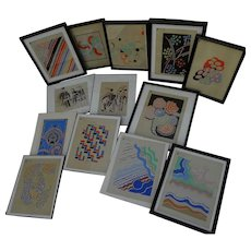 SONIA DELAUNAY (1885-1979) **thirteen** stencil prints two hand signed by the noted French modernist artist