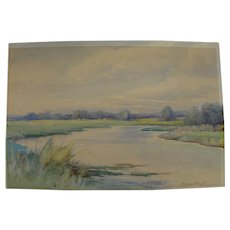 ALFRED SCHROFF (1863-1939) watercolor painting of a marsh by noted Oregon artist