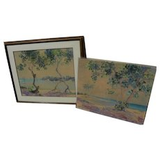 Vintage Florida art PAIR watercolor paintings by RACHEL STEARNS (1895-1979)