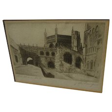 Etching of Gothic church signed John LaFarge