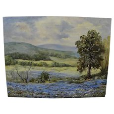 Contemporary Texas bluebonnet impressionist landscape painting signed Julienne