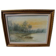 C. MYRON CLARK (1858-1925) impressionist watercolor painting of lake and forest at sunset