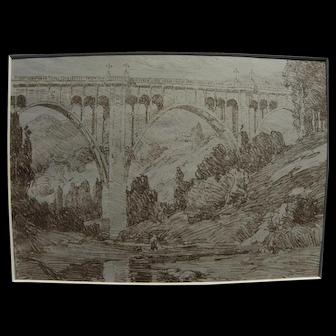 """BENJAMIN CHAMBERS BROWN (1865-1942) rare lithograph """"High-Bridge"""" by important California plein air artist"""