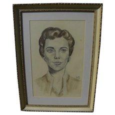 MARGARET D.H. KEANE (1927-) original mixed media portrait drawing by the Big Eyes pop culture master artist