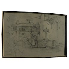 Pencil drawing dated 1874 of fountain in Italian alpine town Cesana-Torinese