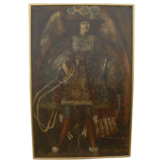 Cuzco School Spanish Colonial Art style contemporary large painting of San Gabriel