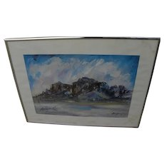 TED DE GRAZIA (1909-1982) hand signed print of Superstition Mountains Arizona by famed Southwest artist