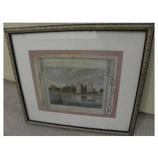 """English 1795 framed antique engraving """"View of Lambeth Palace in Surrey"""""""