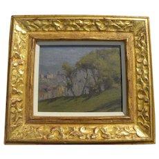 Impressionist vintage landscape painting in gold leaf frame