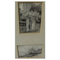 Pair small old  grisaille watercolor drawings of home gateway and coastal landscape