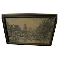 Rotterdam Netherlands etching pencil signed by artist MARIUS JANSSEN (1885-1957)