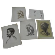 HERMAN KOFI BAILEY (1931-1981) group of five prints signed by the African-American artist