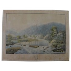 Antique 1840's detailed German extensive landscape with figures watercolor painting