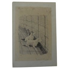 MARGUERITE KIRMSE (1885-1954) pencil signed etching of curious terriers by noted dog artist