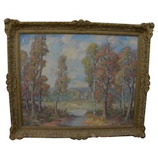 American vintage signed impressionist autumn landscape painting with trees