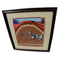 JUSTIN TSO (1948-) Navajo art original gouache painting of horses and rider in landscape