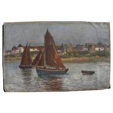 Vartan Mahokian (1869-1937) impressionist Mediterranean coast painting by noted Armenian artist