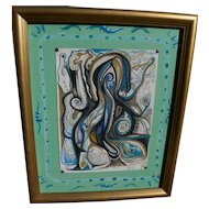 Contemporary modernist crayon and pencil abstract drawing signed with initials