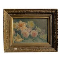 Scottish impressionist 1889 painting of roses with partial original labels **STOLEN**
