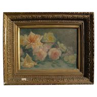 Scottish impressionist 1889 painting of roses with partial original labels
