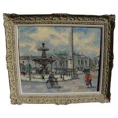 Paris 1950's vintage impressionist oil painting of Place de la Concorde