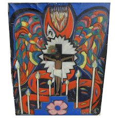 Colorful vintage folk art painting of the Crucifixion by Brazilian modernist artist