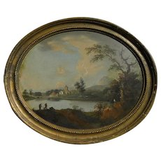 Old master circa 1800 classic landscape in oval shape frame