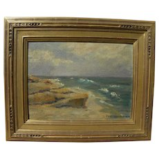 American signed impressionist coastal seascape painting in quality frame