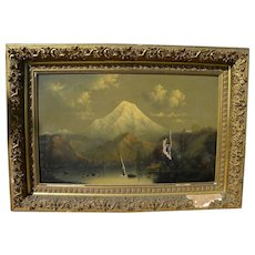 Pacific Northwest large volcano school painting style of Barchus