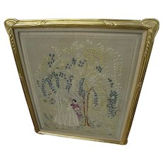 Large hand embroidery needlework picture in expensive closed corner hand carved gold leaf frame
