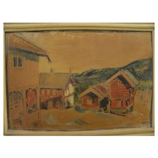 Old alpine Swiss or Austrian pastel drawing signed with initials