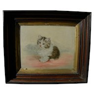 Antique American painting of adorable kitten in likely original walnut frame