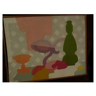 Modernist Mid-Century art 1953 unique painting signed A. STRAUSS