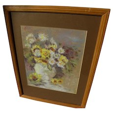 Impressionist pastel still life drawing vase and flowers