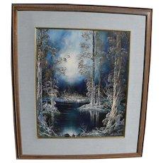 JULIAN RHINEHARDT (b. 1915) Mid Century oil painting of magic winter forest