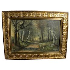 FREDERICK MATZOW (1861-1938) forest landscape painting by noted Handel lamps artist