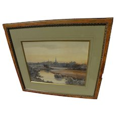English 19th century watercolor landscape painting signed F. K. Seville