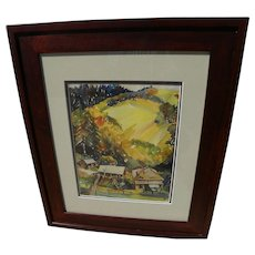 California vintage watercolor landscape steep hillside and structures