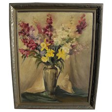BERTHA TOWNSEND COLER (1865-1948) floral still life oil painting by listed California woman artist