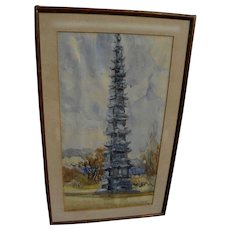 Chinese art 1968 watercolor painting of pagoda temple signed Ji Won Chang