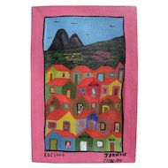 Brazilian naive art colorful contemporary painting of Rio de Janeiro neighborhood