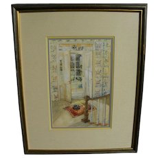 Impressionist watercolor painting of doorway entry area of 19th century home