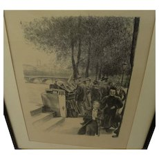 Circa 1890's unsigned lithograph print Paris bookstalls along the Seine