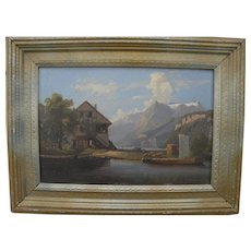 Swiss alpine 19th century small painting style of Hubert Sattler (1817-1904)