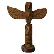 Northwest Coast hand carved wood totem pole circa 1950's