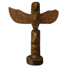 Northwest Coast hand carved wood totem pole circa 1950's