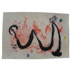 "JOAN MIRO (1893-1983) Spanish modern art original pencil signed numbered 1963 lithograph print ""La Danse de Feu"""